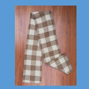Boys 🧣Vintage 100% Wool Brown Plaid Scarf